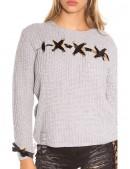Серый женский свитер со шнуровкой и лентами (111206) - цена, 4