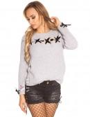 Серый женский свитер со шнуровкой и лентами (111206) - foto