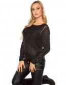 Плетеный черный джемпер UFc55 (111213) - цена, 4