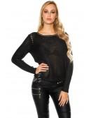 Плетеный черный джемпер UFc55 (111213) - foto