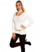 Белый лонгслив с глубоким вырезом (102165) - оригинальная одежда, 2