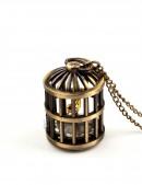 Кулон-часы с птичьей клеткой (350102) - foto