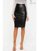 Кожаная юбка-карандаш X7111 (107111) - foto