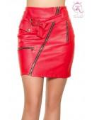 Красная кожаная юбка KouCla (107182) - foto
