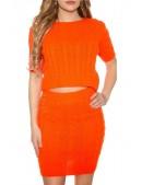 Яркий вязаный джемпер-топ и юбка (Neon Orange) (133012) - 4, 10
