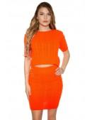 Яркий вязаный джемпер-топ и юбка (Neon Orange) (133012) - foto