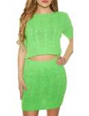 Вязаный комплект: топ и юбка (неоновый зеленый) (133013) - 5, 12