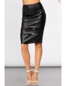 Кожаная юбка с прозрачными вставками X7110 (107110) - foto