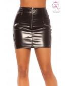 Кожаная мини-юбка с молниями KC7194 (107194) - foto