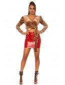 Красная мини-юбка под кожу KC195 (107195) - оригинальная одежда, 2