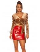 Красная мини-юбка под кожу KC195 (107195) - 3, 8