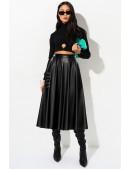 Черная кожаная юбка миди X7200 (107200) - foto