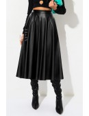 Черная кожаная юбка миди X7200 (107200) - цена, 4
