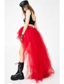 Красная асимметричная юбка-шлейф X7210 (107210) - цена, 4