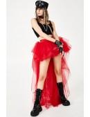 Красная асимметричная юбка-шлейф X7210 (107210) - foto