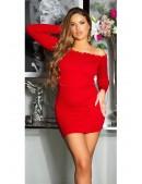 Красное короткое платье с воланами сверху KC5495 (105495) - оригинальная одежда, 2