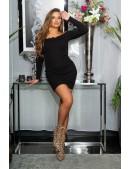Короткое черное платье с воланами сверху KouCla (105496) - оригинальная одежда, 2