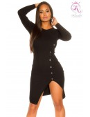 Вязаное черное платье с разрезом KC5374 (105374) - foto