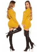 Рваный свитер-туника горчичного цвета (105379) - 3, 8
