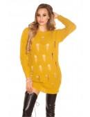Рваный свитер-туника горчичного цвета (105379) - 4, 10