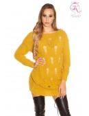 Рваный свитер-туника горчичного цвета (105379) - foto
