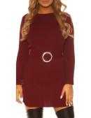 Вязаное платье с разрезами и поясом KC5014 (165014) - 4, 10