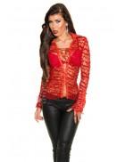 Красная ажурная блузка MF1218