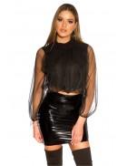 Укороченная черная блуза MB223
