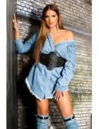 Джинсовая рубашка-платье KC3029