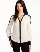 Шифоновая блузка с отделкой из кожи