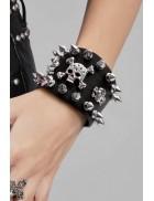 Кожаный браслет с шипами CC186