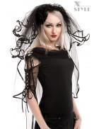 Черная фата невесты с кружевом