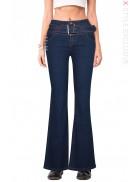 Синие джинсы клеш с поясом X8117