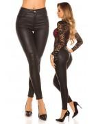 Кожаные джинсы высокой посадки MF8083