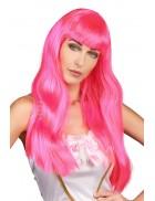 Длинный розовый парик Hot Pink CC3024
