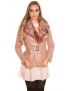 Зимняя кожаная куртка с мехом Antique Pink
