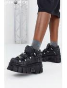 Черные кожаные кроссовки на массивной подошве M106