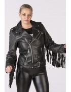 Женская мото-куртка с бахромой New Rock