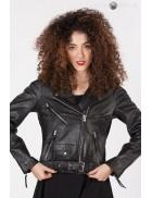 Женская черная мотокуртка из натуральной кожи J006S1