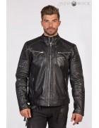 Черная мужская кожаная куртка MJ008S1