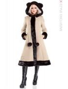 Пальто зимнее с меховыми ушками