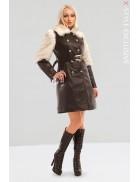 Зимнее кожаное пальто с мехом X5050