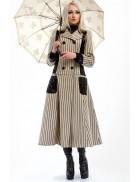 Винтажное пальто в полоску X4030