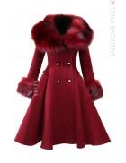 Зимнее шерстяное пальто с мехом X5073