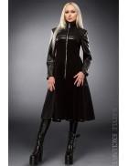 Демисезонное пальто с отделкой из кожи X-Style
