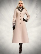 Длинное приталенное пальто с лаковым кружевом