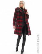Двубортное зимнее пальто с поясом 115049