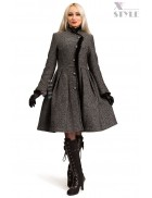 Зимнее твидовое пальто с мехом X5056