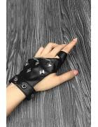 Женские кожаные перчатки без пальцев с цепями и клепками X1186