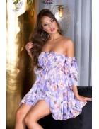 Лиловое платье Babydoll с цветочным принтом KC5508
